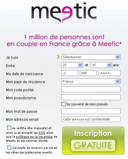 Meetic fr inscription